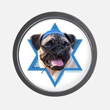 Hanukkah Star of David - Pug Wall Clock