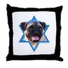 Hanukkah Star of David - Pug Throw Pillow