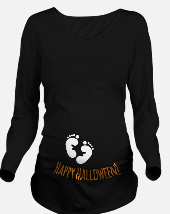 Happy Halloween Long Sleeve Maternity T-Shirt
