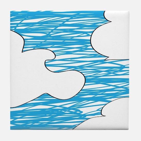 Scribble Clouds Tile Coaster