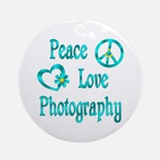 Peace Love Photography Ornament (Round)