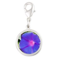 Morning Glory Silver Round Charm