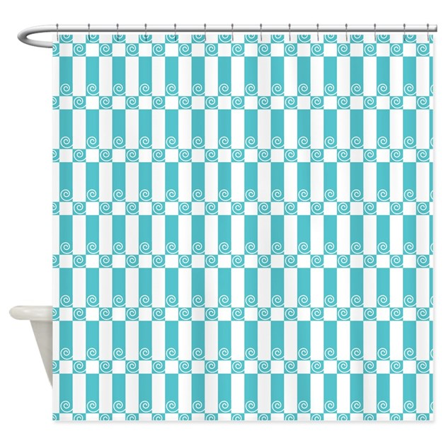 Aqua And White Miami Art Deco Shower Curtain By Antique Images