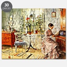 Carl Larsson: Interior with a Woman Reading Puzzle