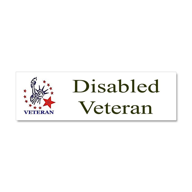Disabled veteran bumper sticker car magnet 10 x 3 by for Kitchen colors with white cabinets with handicap sticker for car