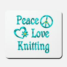 Peace Love Knitting Mousepad