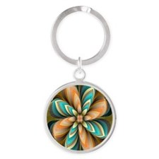 Flowers Please Round Keychain