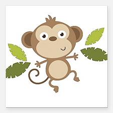 "Baby Monkey Square Car Magnet 3"" x 3"""