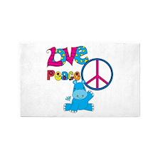 Love Peace Hippos 3'x5' Area Rug
