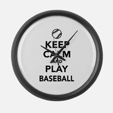 Keep calm and play Baseball Large Wall Clock