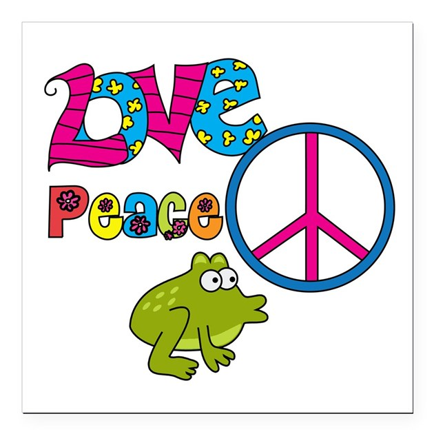 Love peace frogs square car magnet 3 quot x 3 quot by toddlersplace