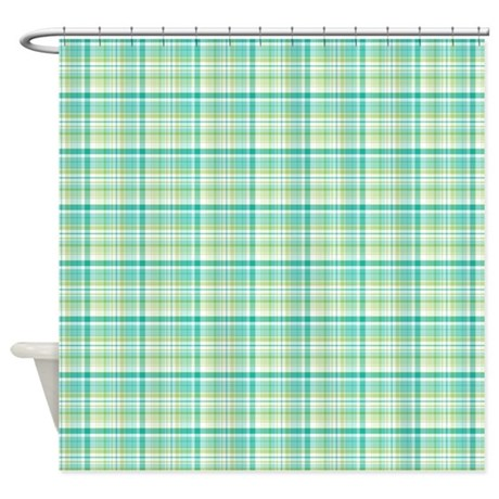 Green And Aqua Plaid Shower Curtain Shower Curtain By