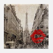 vintage eiffel tower paris Tile Coaster