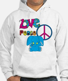 Love Peace Elephants Hoodie