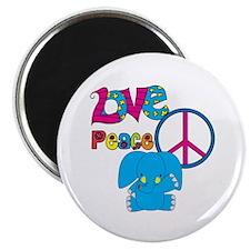 "Love Peace Elephants 2.25"" Magnet (10 pack)"
