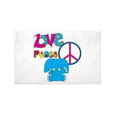 Love Peace Elephants 3'x5' Area Rug