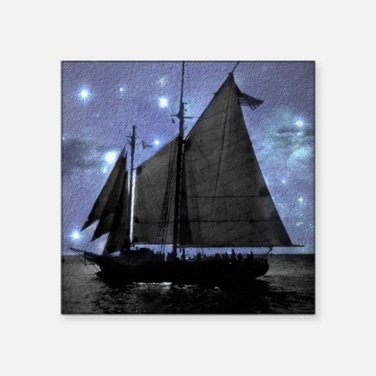 "vintage pirate ship landsca Square Sticker 3"" x 3"""