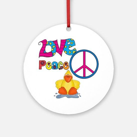 Love Peace Ducks Ornament (Round)
