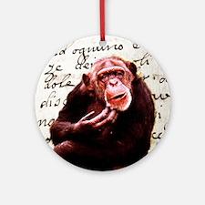 funny chimpanzee  Round Ornament