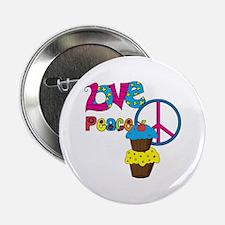 "Love Peace Cupcakes 2.25"" Button"