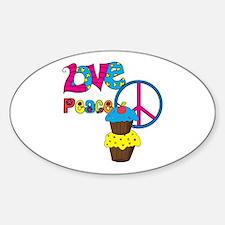 Love Peace Cupcakes Sticker (Oval)