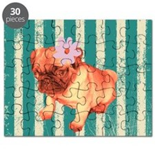 retro pug tropical stripes Puzzle