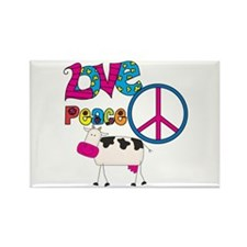Love Peace Cows Rectangle Magnet