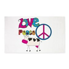 Love Peace Cows 3'x5' Area Rug