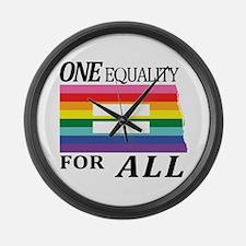 North Dakota one equality blk Large Wall Clock