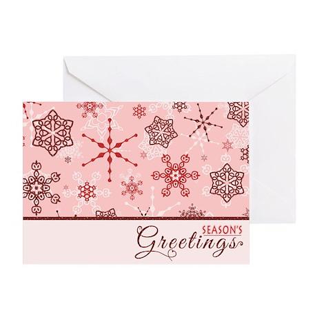 Seasons Greetings Elegant Red Snowflake Glitz Gree