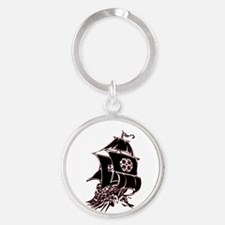 Black Pirate Ship Round Keychain
