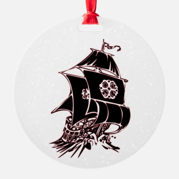 Black Pirate Ship Ornament