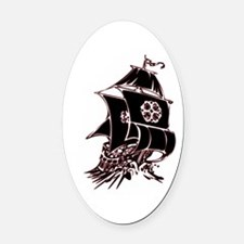 Black Pirate Ship Oval Car Magnet
