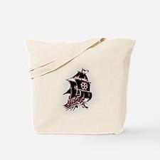 Black Pirate Ship Tote Bag