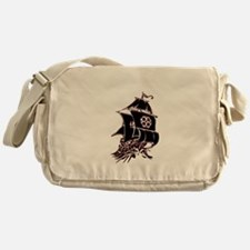 Black Pirate Ship Messenger Bag