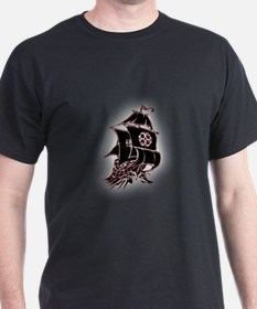 Black Pirate Ship T-Shirt