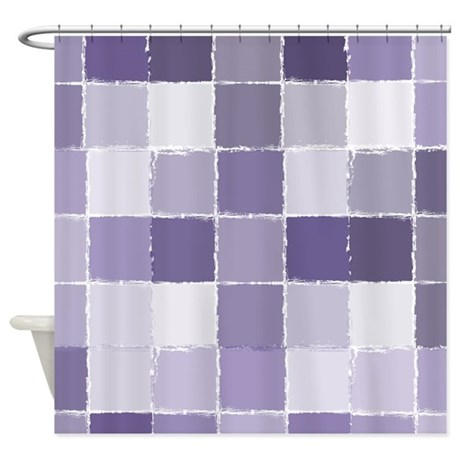 Purple Squares Shower Curtain By Zenchic