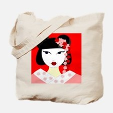 Cute Geisha Girl Red with Pink Flowers Tote Bag
