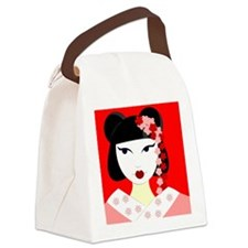 Cute Geisha Girl Red with Pink Flowers Canvas Lunc