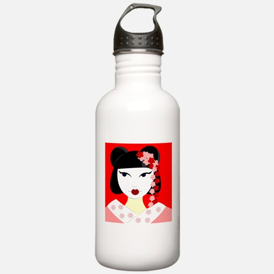 Cute Geisha Girl Red with Pink Flowers Water Bottl