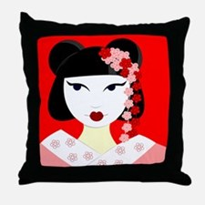 Cute Geisha Girl Red with Pink Flowers Throw Pillo