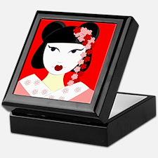 Cute Geisha Girl Red with Pink Flowers Keepsake Bo