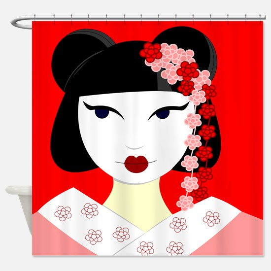 Cute Geisha Girl Red with Pink Flowers Shower Curt