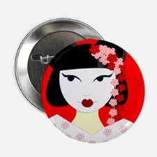 """Cute Geisha Girl Red with Pink Flowers 2.25"""" Butto"""