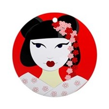 Cute Geisha Girl Red with Pink Flowers Ornament (R
