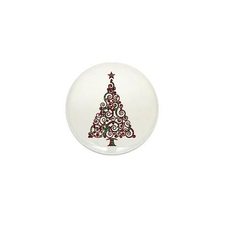Christmas Plaid Swirly Tree Mini Button (10 pack)