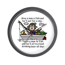 Teach a Man to Fish Wall Clock