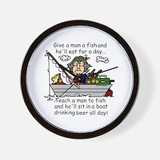 Teach a Man to Fish Wall Clock