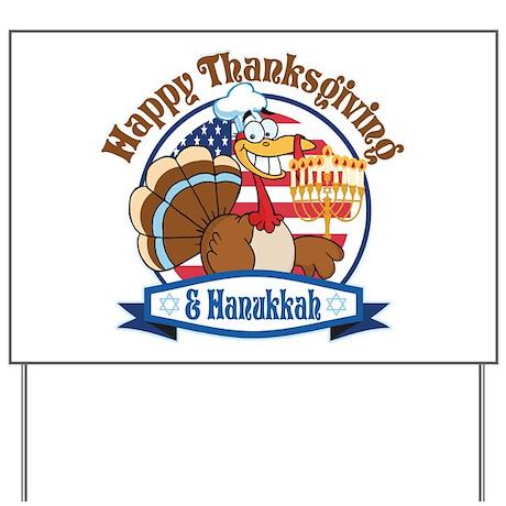 Thanksgiving Hanukkah Turkey Yard Sign