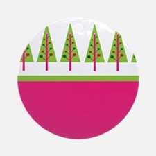 Holiday Trees - Pink Lime Ornament (Round)